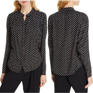 Joie Tangia Print Button-Up Blouse In Caviar